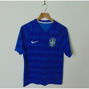 Nike Small Brazil Soccer Jersey Blue Short Sleeve
